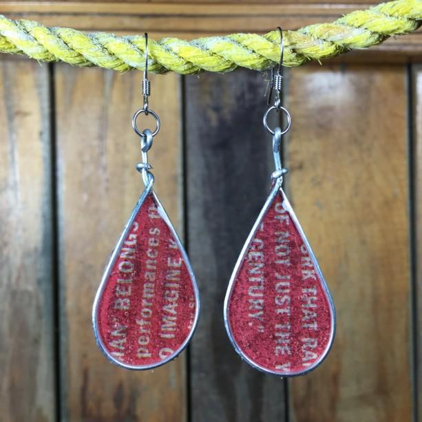 Red Text Earrings, Colorful Earrings, Word Earrings, Book Earrings, Drop Earrings, Repurposed Materials, Stainless Steel Earrings