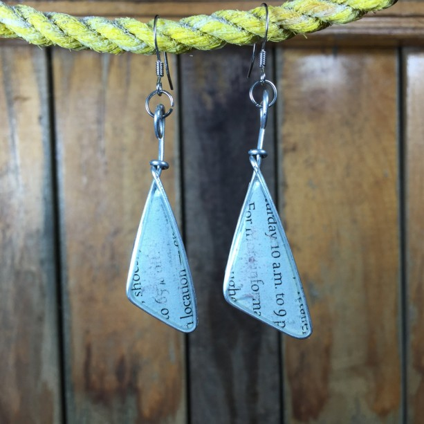 Light Blue Text Earrings, Text Jewelry, Word Earrings, Book Earrings, Repurposed Earrings, Triangle Earrings, Stainless Steel
