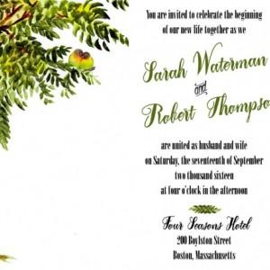 Custom Tree Wedding Invitations with RSVP - Love Bird Wedding Invitation