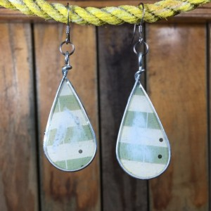 Green and White Striped Earrings, Teardrop Earrings, Muted Colors, Repurposed Materials, Stainless Steel