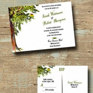 Custom Tree Wedding Invitations with RSVP - Love Bird Wedding Invitation