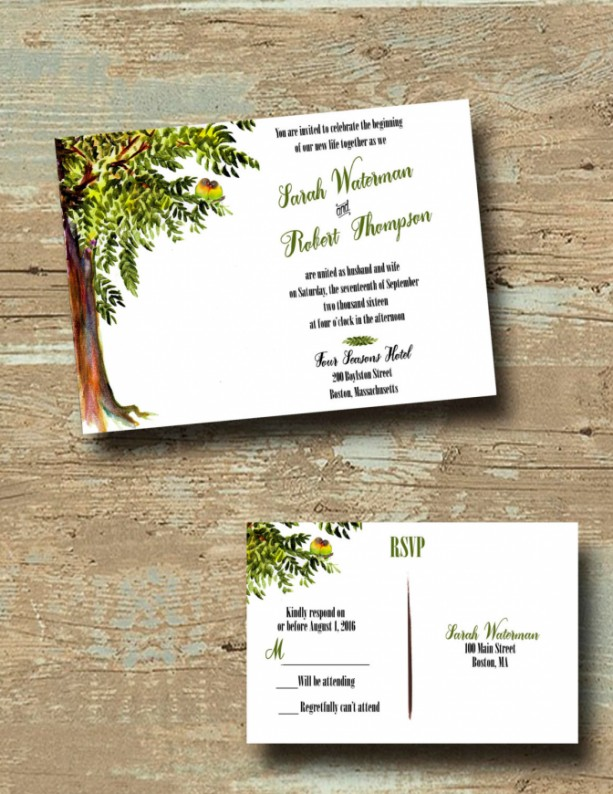 Custom Tree Wedding Invitations With RSVP   Love Bird Wedding Invitation