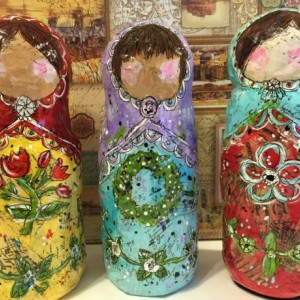 Whimsical Russian Paper Mache Art Doll / Recycled Materials / Hand Painted / Mixed Media OOAK Handmade Art Doll Collectible Matryoshka Doll