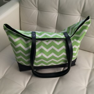 Large Tote Bag /// Green and White Chevron with Black Canvas Bottom and Black Buffalo Leather Straps