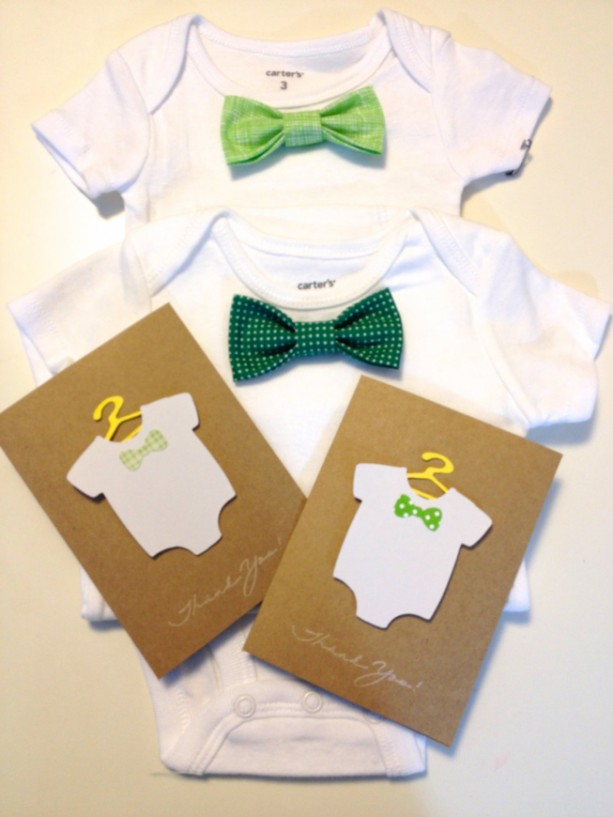 New Baby Gift Thank You Cards : Newborn baby shower gift green set
