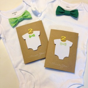 Newborn Baby Shower Gift, Green Baby Shower Gift Set, Spring Bodysuit Bow Tie and Thank You Cards, Baby Gift, Baby Shower Present