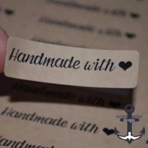"Handmade with Love ""Heart Shape"" Labels - 80 Stickers Per Sheet with Kraft Brown Background"