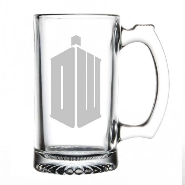 Doctor Who Etched Beer Mug Phone Booth  Tardis