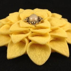 Handmade Dahlia Felt Flower Brooch Pin / Clip / Hair Clip - 2 Flowers