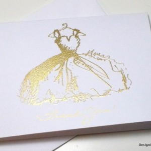 Gold Bridal Shower Thank You Wedding Card Set, Gold Embossed Gown Bridal Shower Thank You Gold Thank You, Bridal Shower Sweet 16