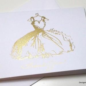 Gold Bridal Shower Thank You Wedding Card Set, Gold Embossed Gown Bridal Shower Thank You Gold Thank You, Bridal Shower Sweet 16