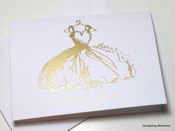gold bridal shower thank you wedding card set gold embossed gown bridal shower thank you