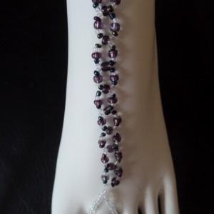 Purple Haze Soleless sandals, Handmade, purple and iridescent beads