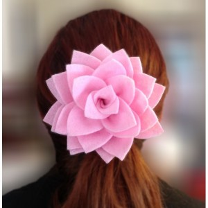 Handmade Lotus Blossom Flower Clip Hair Accessory - 2 Flowers