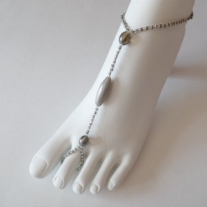 Grey beaded Barefoot, Soleless Sandals Jewelery Sexy, Dressy, Classy, Handmade item, made to order