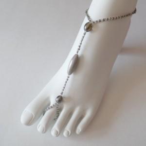 Grey beaded Barefoot, Soleless Sandals Jewelery Sexy, Dressy, Classy, Handmade item, made to order