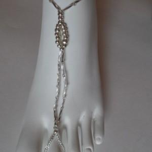 Sleek Platinum beaded Barefoot, Soleless Sandals Jewelery Sexy, Dressy, Classy, Handmade item, made to order