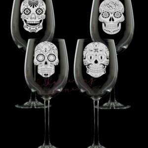 Sugar Skull Wine Glasses, set of 4