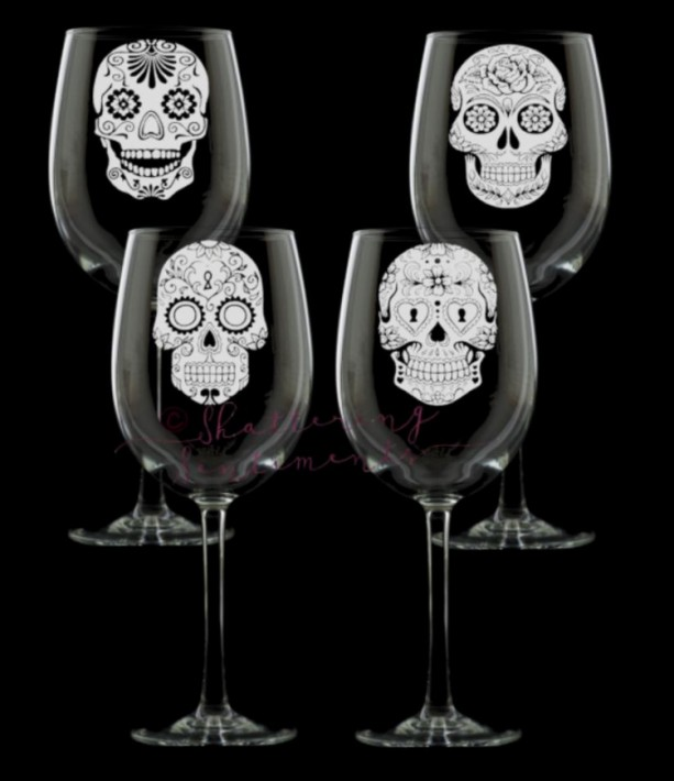 Sugar Skull Wine Glasses, set of 4