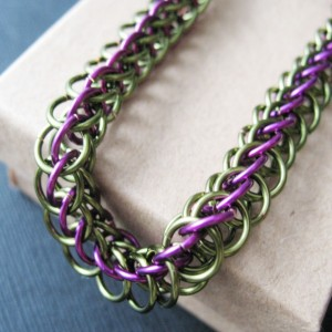 Chainmaille Bracelet Green and Purple Half Persian Chain Link Jewelry For Women