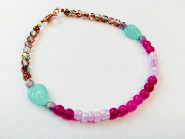 Dainty beaded Czech glass gemstone leaf bracelet in pastel spring colors, copper clasp, pink green sparkle shiny, girly gift for her