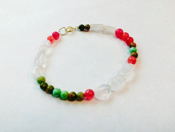 Shabby chic spring rose quartz turquoise jade bracelet with sterling clasp, gift for her, trendy pretty girly pink green