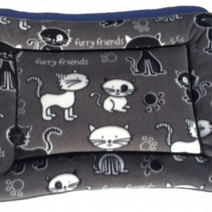 Furry Friends Fleece Cat Bed, Kitten Chair Pad, Designer Couch Cushion, Feline Crate Mat, Gift for Cat Lovers