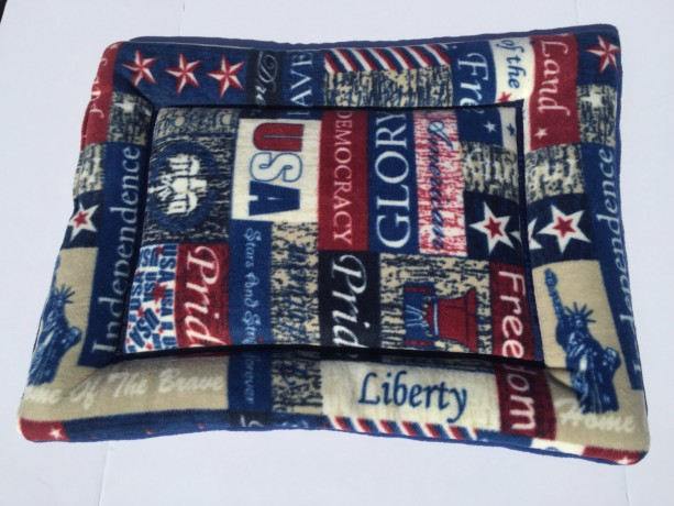Patriotic Dog Cat Bed, Crate Pads, Small Pet Mat, Fleece Couch Cushion, USA Made Dog Bed, 4th of July, Patriotic Gifts
