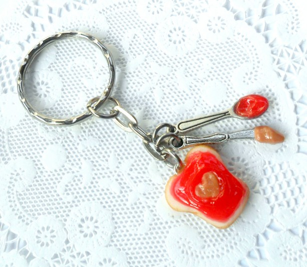 Peanut Butter Heart and Strawberry Jelly Keychain, With Knife & Spoon, Cute :D FREE SHIP!