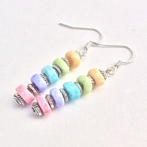Candy Crush Saga Beaded Dangle Earrings, Rainbow Pastel Color Beaded Drop Earings, Blue Green Pink Everday Women Jewelry