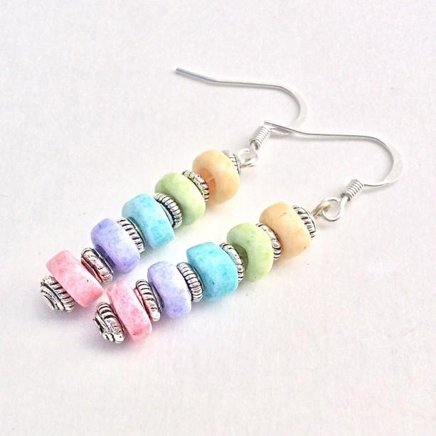 Candy Crush Saga Beaded Dangle Earrings, Rainbow Pastel Color Beaded Drop Earings, Blue Green Pink Everday Women Jewelry