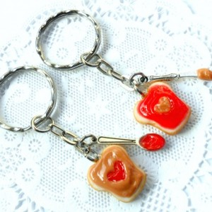 Peanut Butter and Jelly Heart Keychain Set, Strawberry, With Knife & Spoon, Best Friend's Keychains, Cute :D