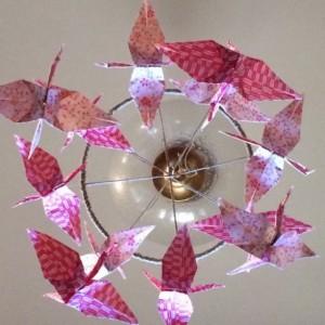 Origami crane mobile, pink mobile, nursury mobile, baby girl mobile, baby gurl nursury decor, crane mobile, paper mobile.