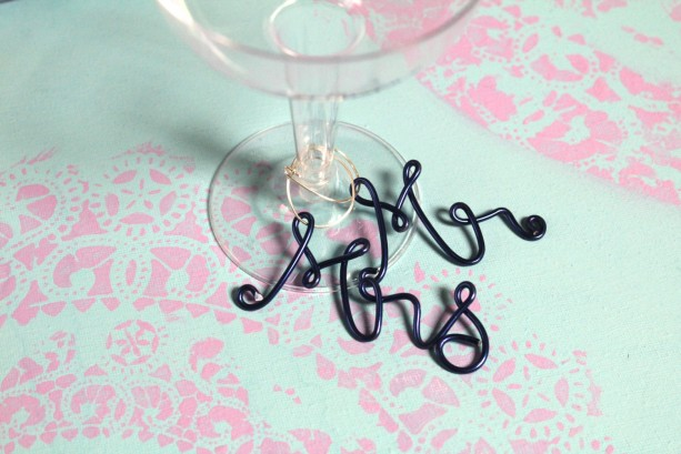 Mr and Mrs Wine Charms, Wedding Charms for Wine Glass