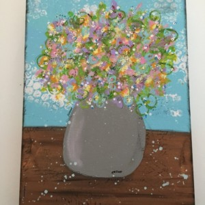 Original Acrylic Mixed Media Painting, Flower Vase, Mixed Media Painting, Canvas Painting, Stretched Canvas Acrylic Painting Size 9 x 12,