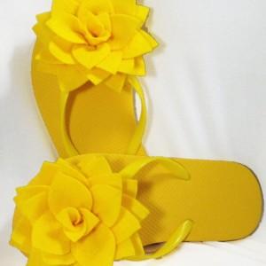 Lotus Blossom Flip Flops| Bridesmaid Flip Flops| Bride Flip Flops| Made-to-Order Flower Flip Flops| Bridesmaid / Bride Gifts| Beach Coverup