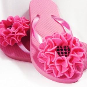 Mum Flower Flip Flops  Bridesmaid Flip Flops  Bride Flip Flops  Made-to-Order Flower Flip Flops  Bridesmaid / Bride Gifts  Beach Coverup