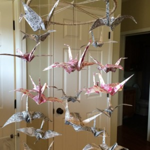 Origami Crane Mobile, Baby mobile, Nursery mobile, nursery decor, reds, pinks, and black baby mobile. Absolutly stunning! OOAK mobile.
