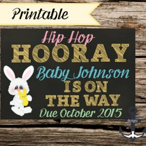 Printable Pregnancy Announcement, Easter, 100%  Personalized
