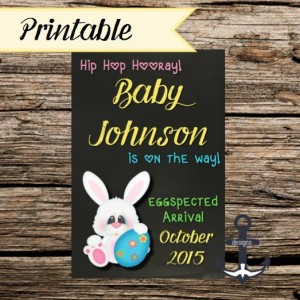 Printable Pregnancy Announcement, Easter, 100%  Personalized, Easter Bunny, Hip Hop