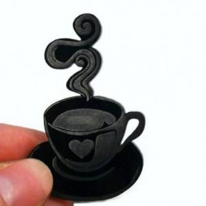 Black Coffee cup Brooch, Handmade Acrylic Brooch, Cute Packaging
