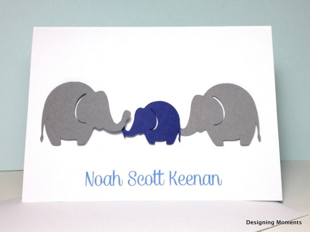 elephant baby shower thank you card set personalized baby shower thank you cards grey and navy - Personalized Thank You Cards