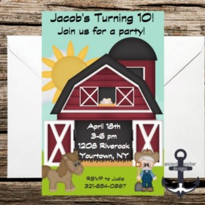 Printed Farm Birthday Party Invites - Old McDonald Themed, 100% Personalized - Birthday Party Invitation with Envelopes!