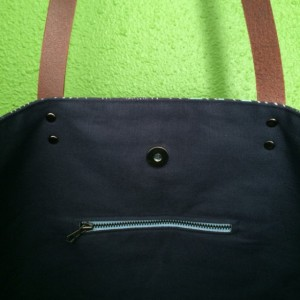 Large Tote Bag /// Birds on Navy with Navy Canvas Bottom and Brown Buffalo Leather Straps