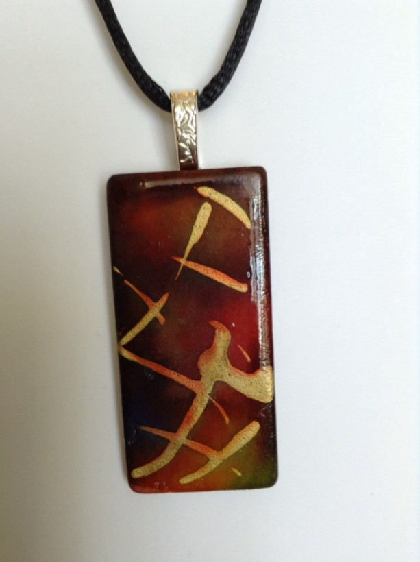 Brown and gold pendant. Brown tile necklace / pendant. Hand painted / alcohol  ink