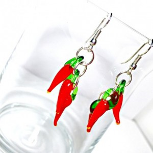 Red Hot Chili Pepper Earrings, Lampwork Pepper Earrings, Glass Pepper Earrings, Food Jewelry, Cluster Earrings, Nickel Free, Hypoallergenic