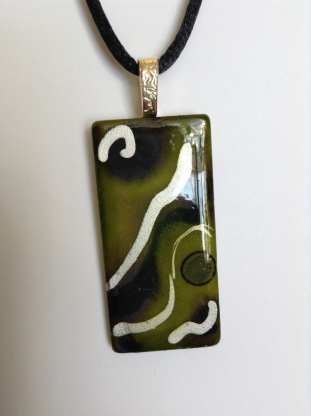 Green and gold hand painted pendant / ceramic tile jewelry / alcohol ink