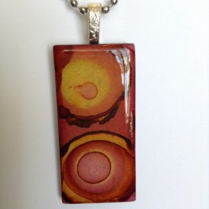 Marsala pendant. burgundy pendant /yellow orange pink / alcohol ink glass tile