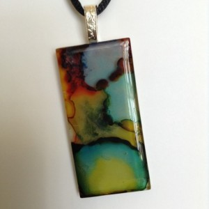 Multi colored pendant. Glass tile pendant / hand painted glass tile pendant /necklace / green and gold necklace