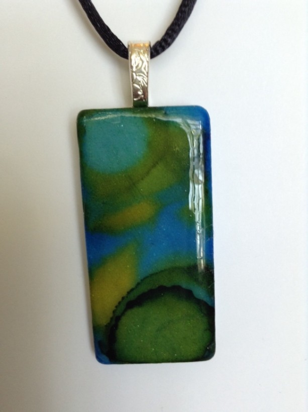 Blue and green pendant. Green and blue pendant. ceramic tile pendant  / hand painted alcohol ink pendant /necklace
